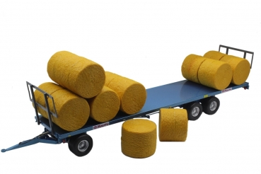 Replicagri 233 Maupu Flat-Trailer with 30 Hay Bales blue