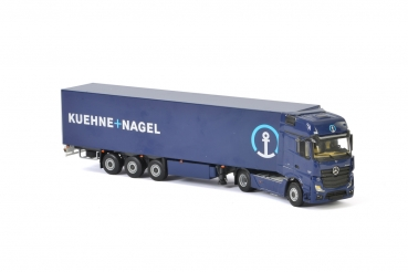 WSI Models 01-2150 Kuehne + Nagel MERCEDES-BENZ ACTROS MP4 GIGA SPACE 4x2 BOX TRAILER - 3 AXLE