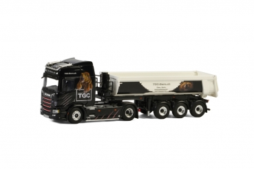 WSI Models 01-2695 TGC Bern SCANIA R HIGHLINE CR20H 4x2 HALP PIPE TIPPER TRAILER - 3 AXLE