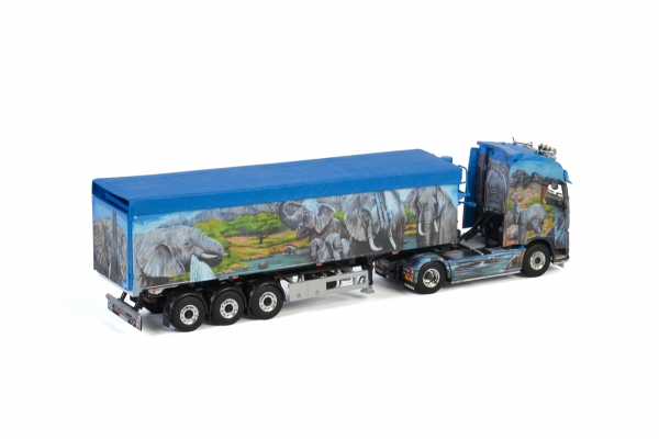 WSI Models 01-3183 Hilker VOLVO FH4 GLOBETROTTER XL 4X2 VOLUME TRAILER | TIPPER - 3 AXLE