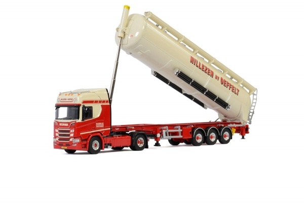 WSI Models 01-2927 Nillezen Transport SCANIA R HIGHLINE CR20H 4x2 BULK TRAILER / TIPPER - 3 AXLE