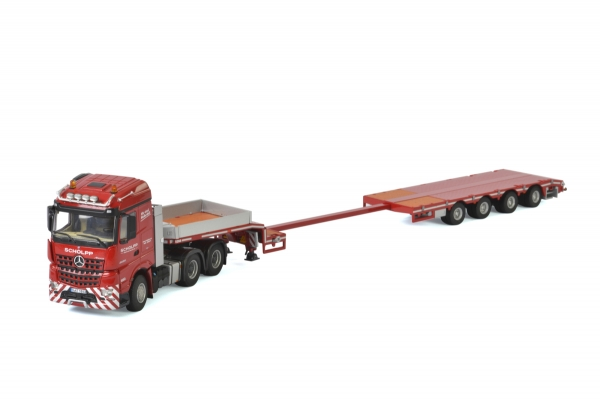 WSI Models 01-2524 Scholpp MERCEDES BENZ AROCS STREAM SPACE 6x4 SEMI LOWLOADER - 4 AXLE