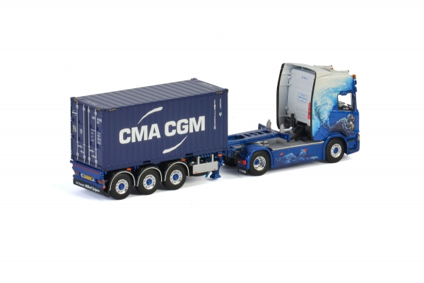 WSI Models 01-2787 Wilbert Kuipers SCANIA R HIGHLINE CR20H 4x2 CONTAINER TRAILER - 3 AXLE + 20 FT CONTAINER